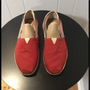 Toms Red/White Striped Slip-On Flats